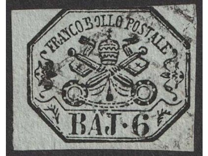 Kirchenstaat, 1852, 6 Baj Znak, MiNr.7, razítkované, dv