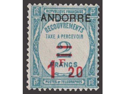 Francouzská, 1931, 1.20Fr/2Fr doplatní, MiNr.12, * po nálepce