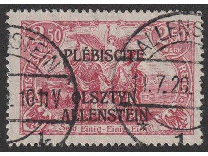 Allenstein, 1920, 2.50 M růžová, MiNr.13, razítkované