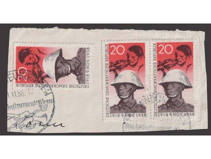 1958, 20 Pf Voják, výstřižek z dopisu, MiNr.662, stopy provozu