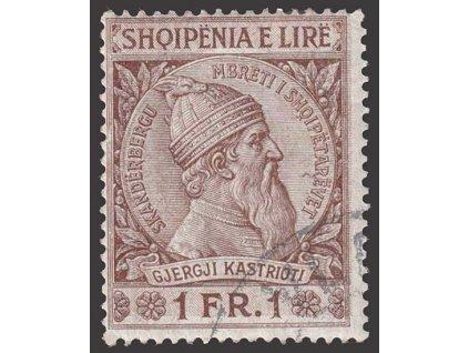 1913, 1 Fr Skanderbeg, MiNr.34, razítkované