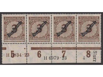 1923, 3 Pf služební, 4páska s HAN, MiNr.99, ** , faldy