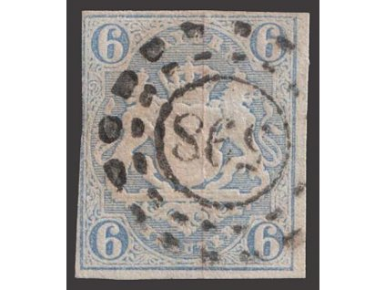 Bayern, 1867, 6 Kr Znak, MiNr.16, razítkované