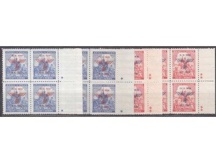 1942, 1.20-2.50K 3.výročí protektorátu s okraji, 4bloky, komplet křížky a hvězdičky, Nr.72-3, **