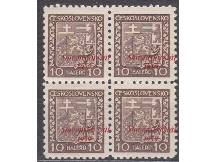 1939, 10h Znak, 4blok - posun přetisku, Nr.3, **