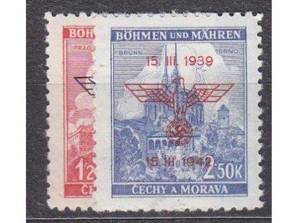 1942, 1.20-2.50K III.výr. BuM, série, Nr.72-3, **