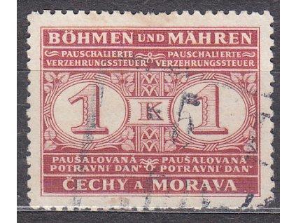1940, 1K Potravní daň, Nr.PD1, razítkované, kz