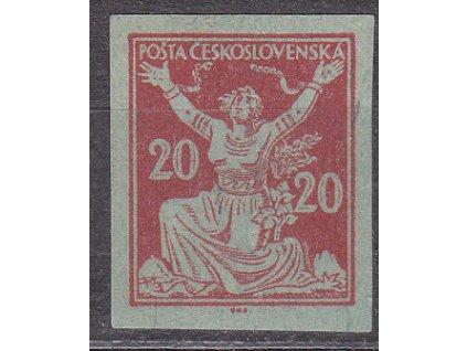 20h červená, ZT na nazelenalém papíru, Nr.151,bez lepu
