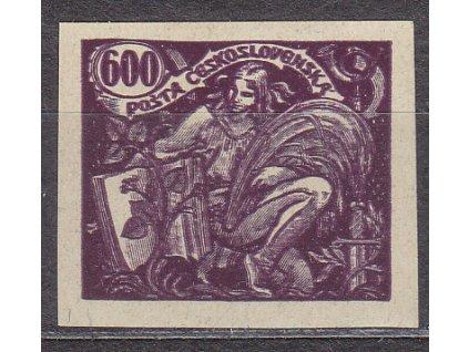 600h fialová, nezoubkovaný. ZT na nahnědlém papíru, Nr.169, bez lepu