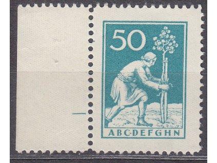 Nerealizovaný návrh na čs zn. 50h zelená, kraj. kus, cca 1920, **