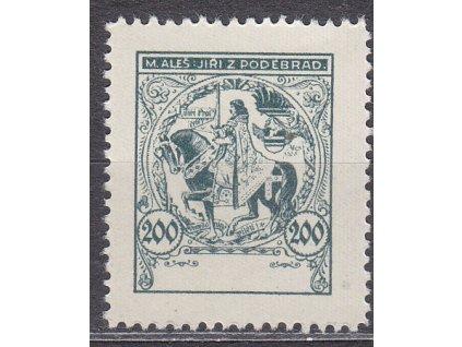 Nerealizovaný návrh na čs zn. 200h Jiří z Poděbrad, cca 1920, **