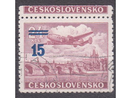 1949, 15/24Kčs Letecké, světle modrý přetisk, horní okraj, Nr.L31a, razítkované