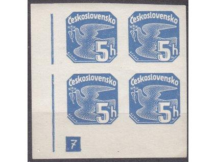 1937, 5h modrá, roh. 4blok s DČ 7 - přerušený rám, Nr.NV15, **