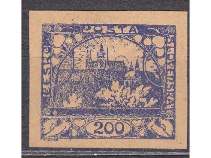 200h modrá, ZT na nahnědlém papíru s obtiskem, Nr.22, bez lepu, DV - lehce zaslabena