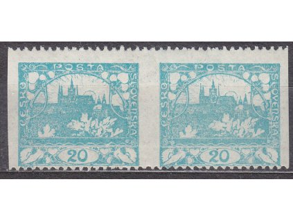 20h modrozelená, Řz.11 1/2, 2páska s vynechanou svislou perforací, Nr.8C,  * po nálepce
