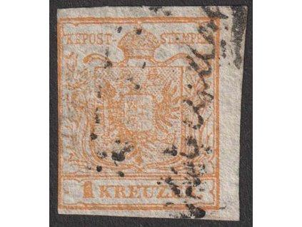 1850, 1 Kr Znak, MiNr.1, razítkované, lehké archové lomy
