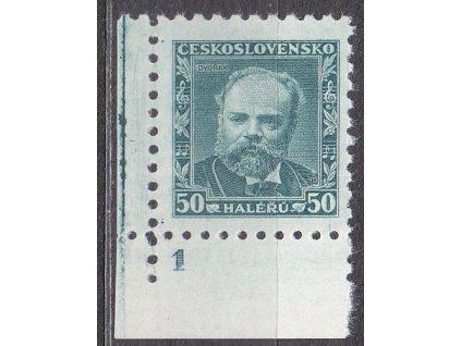 1934, 50h Dvořák, roh. kus s DČ1 - lep bez pruhů, Nr.280a, **