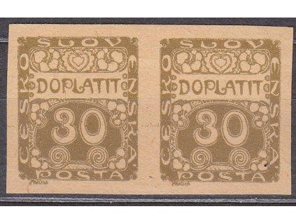 1919, 30h hnědá, 2páska, ZT na nahnědlém papíru, Nr.DL6, bez lepu