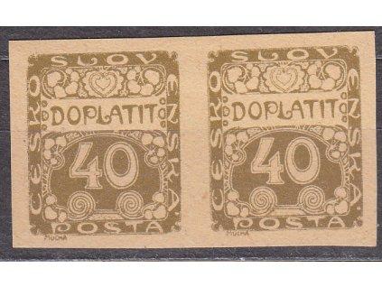 1919, 40h hnědá, 2páska, ZT na nahnědlém papíru, Nr.DL7, bez lepu