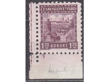 1926, 1.20Kč Strahov, roh. kus s DČ 1, bez pruhů, Nr.219a, * po nálepce