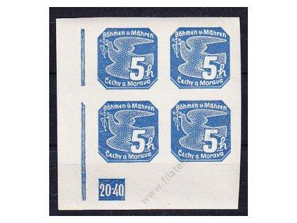 5h modrá, levý roh. 4blok s DČ 20-40, Nr.NV2, **