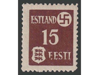 Estland, 1941, 15 (K) Znak, DV - poškozené E v EESTI, Nr.1, **