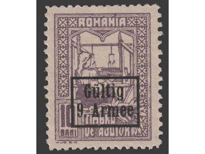 Rumunsko, 1918, 10 B s přetiskem Gültig 9. Armee, **