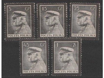 1935, 5Gr-1Zl série Pitsudski, MiNr.294-98, ** , archové lomy