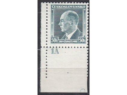 1937, 50h Beneš, roh. kus s DČ 1 a kroužkem na okraji, Nr.314, **
