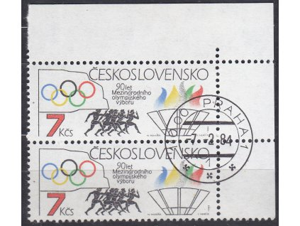1984, 7Kčs Olympijský výbor, roh. 2páska s VV - spadlý kroužek,  Nr.2633 VV, denní razítko, lep **