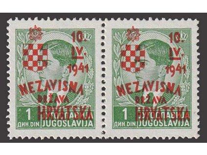 1941, 1 Din Peter s přetiskem, MiNr.26, ** , 2páska
