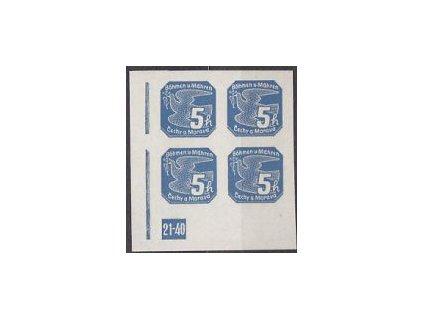 1939, 5h modrá, roh. 4blok s DČ 21-40, Nr.NV2, **