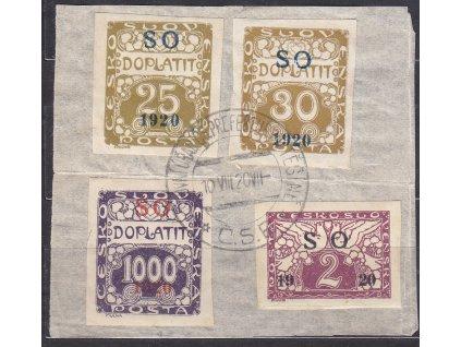 Výstřižek vyfr. mj. 1000h SO 1920, razítko čs. prefektury v Těšíně 10.8.20, vzácné