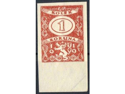 1Kč 1919, nezoubkovaný ZT, ** , kraj. kus