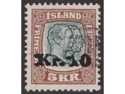 1929, 10Kr/2Kr Christian a Frederik, MiNr.124, razítkované