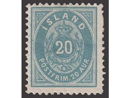 1882, 20 A Znak, MiNr.14B, * po nálepce, lehce zeslabeno