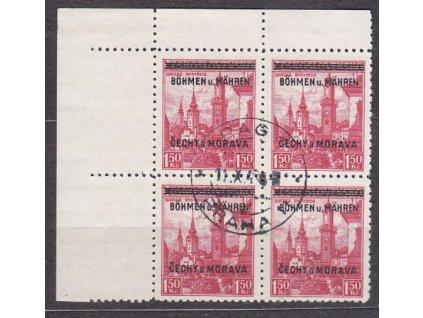 1.50Kč červená, levý horní roh. 4blok, Nr.12, raz.