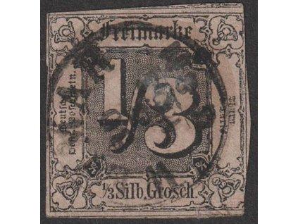 Thurn a Taxis, 1852, 1/3 Sgr černá/okrová, MiNr.2, razítko, lom