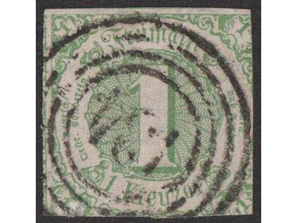 Thurn a Taxis, 1859, 1 Kr zelená, MiNr.20, razítkované