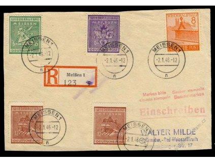 Meissen, 1946, přední strana R-dopisu, MiNr.35-38