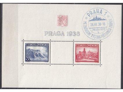 """1938, aršík PRAGA, pamětní razítko PRAHA 1, písmenko """"b"""", Nr.A342-3, ilustrační foto"""