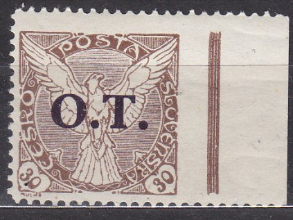 30h O.T., kraj. kus, ministr. Řz.11 1/2 - vpravo vynechané, Nr.OT3, **