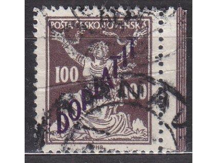 100h hnědá, Řz.13 3/4, krajový kus, Nr.DL53B, razítkované, lehký lom