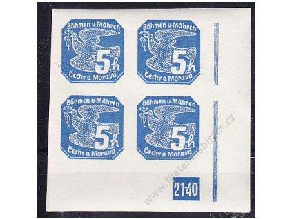 5h modrá, pravý roh. 4blok s DČ 21-40, Nr.NV2, **