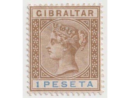Gibraltar, 1895, 1 Pta Viktoria, MiNr.31, * po nálepce, lomy