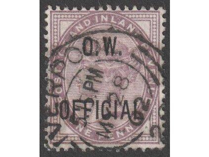 1896, 1 P Viktoría, O.W. OFFICIAL, MiNr.65, razítkované