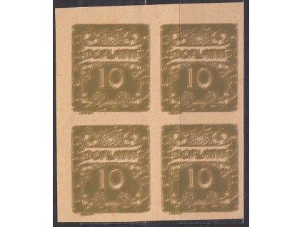 10h hnědoolivová, ZT ve 4bloku, násobný tisk, roh. 4blok, Nr.DL2, bez lepu