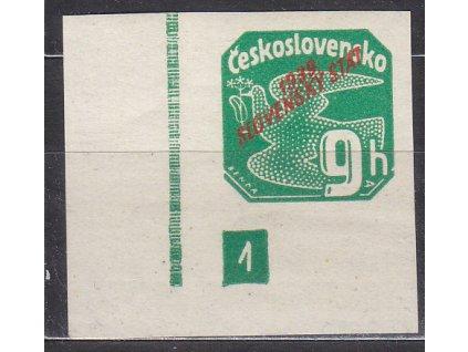 1939, 9h zelená, roh. kus s DČ 1, Nr.NV4, **