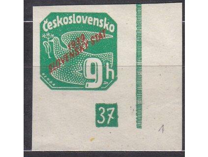 1939, 9h zelená, roh. kus s DČ 37, Nr.NV4, **