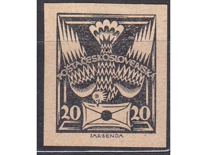 20h černá, nezoubkovaný ZT na nahnědlém papíru, Nr.148, bez lepu